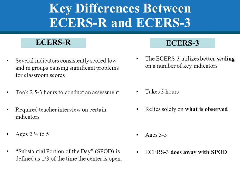 Key Differences Between ECERS-R and ECERS-3