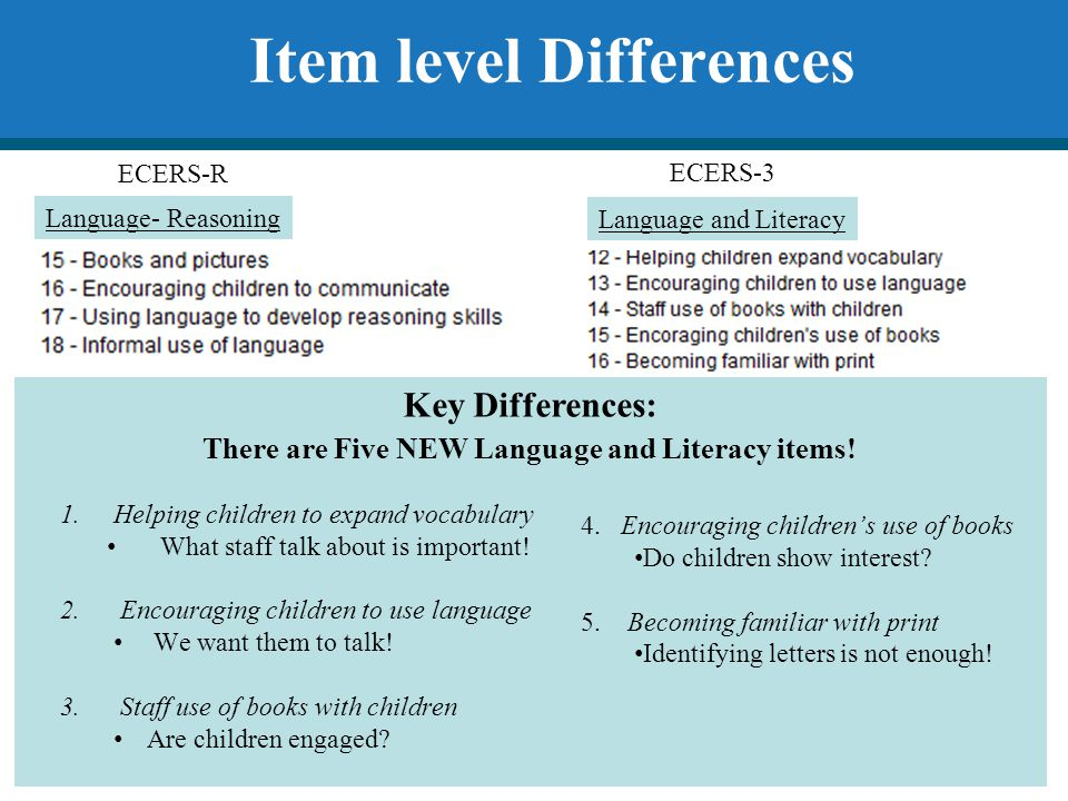 Item level Differences There are Five NEW Language and Literacy items!