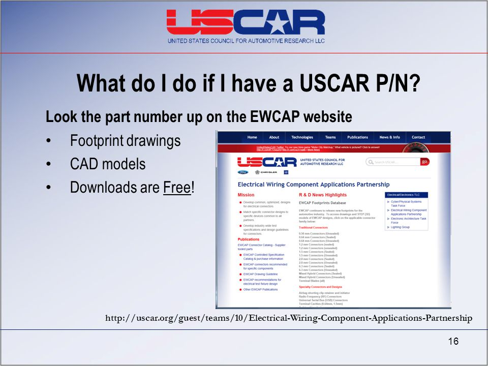What do I do if I have a USCAR P/N