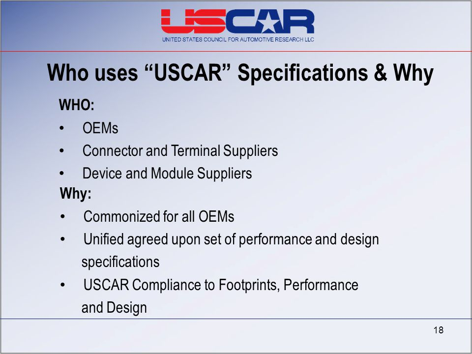Who uses USCAR Specifications & Why