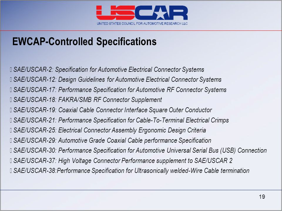 EWCAP-Controlled Specifications