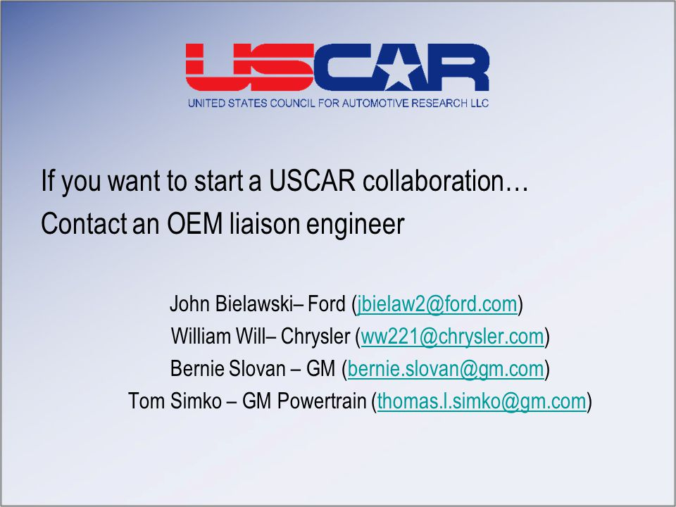 If you want to start a USCAR collaboration…
