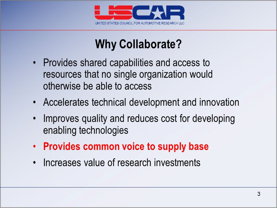 4/7/2017 Why Collaborate Provides shared capabilities and access to resources that no single organization would otherwise be able to access.