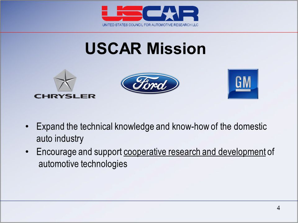 4/7/2017 USCAR Mission. Expand the technical knowledge and know-how of the domestic auto industry.