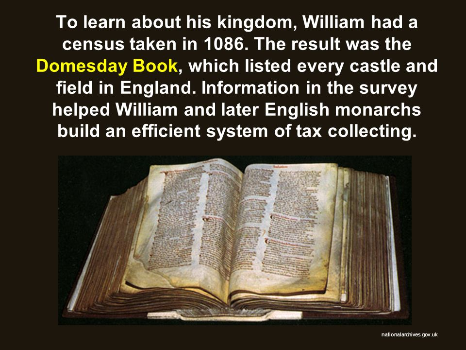 To learn about his kingdom, William had a census taken in 1086