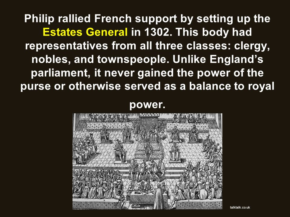 Philip rallied French support by setting up the Estates General in 1302. This body had representatives from all three classes: clergy, nobles, and townspeople. Unlike England's parliament, it never gained the power of the purse or otherwise served as a balance to royal power.