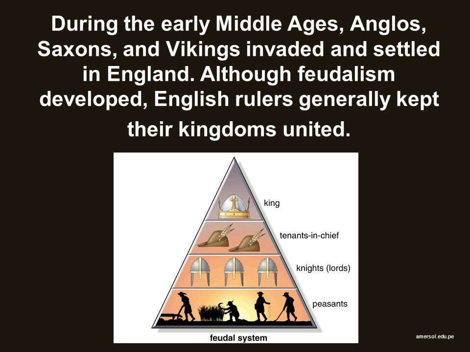 During the early Middle Ages, Anglos, Saxons, and Vikings invaded and settled in England. Although feudalism developed, English rulers generally kept their kingdoms united.