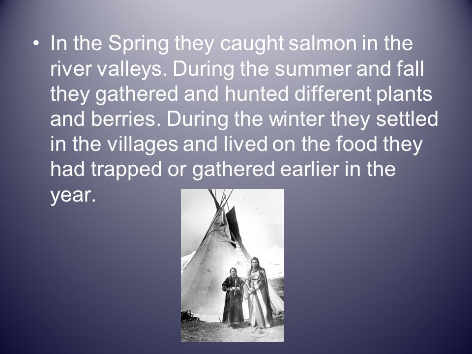 In the Spring they caught salmon in the river valleys