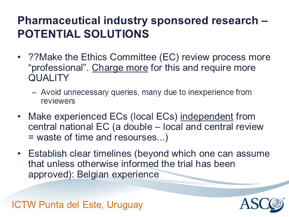 Pharmaceutical industry sponsored research – POTENTIAL SOLUTIONS