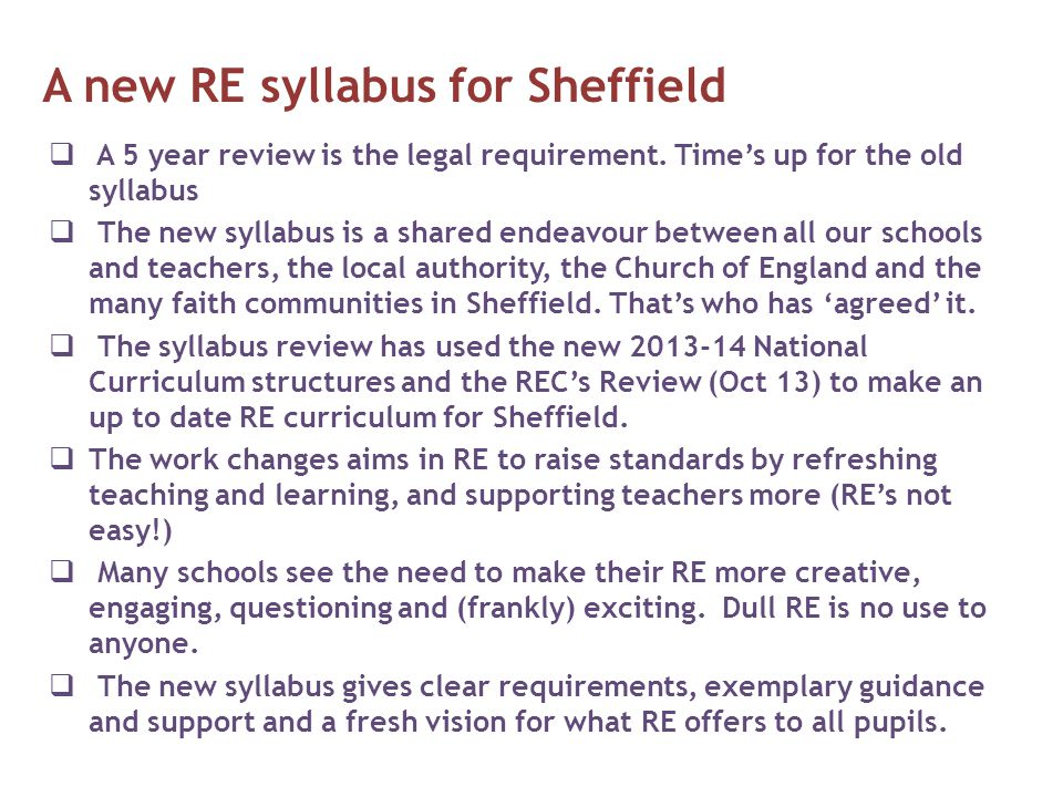 A new RE syllabus for Sheffield