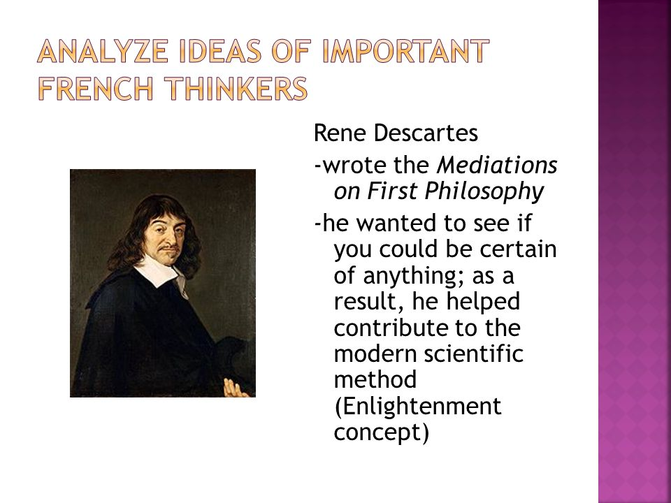 Analyze ideas of important French thinkers