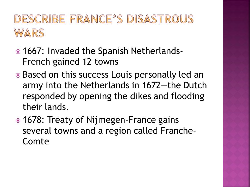Describe France's disastrous wars