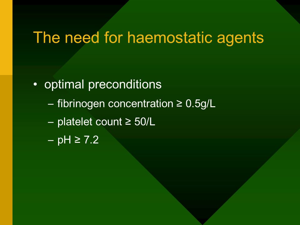 The need for haemostatic agents