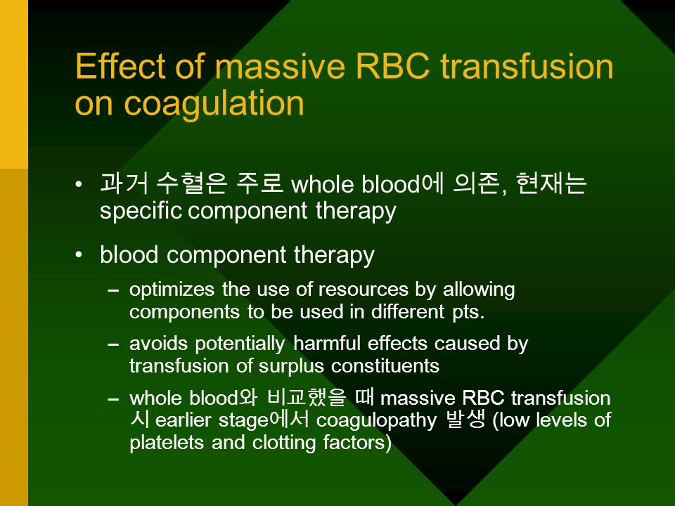 Effect of massive RBC transfusion on coagulation