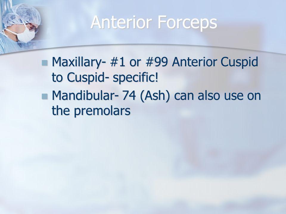 Anterior Forceps Maxillary- #1 or #99 Anterior Cuspid to Cuspid- specific.