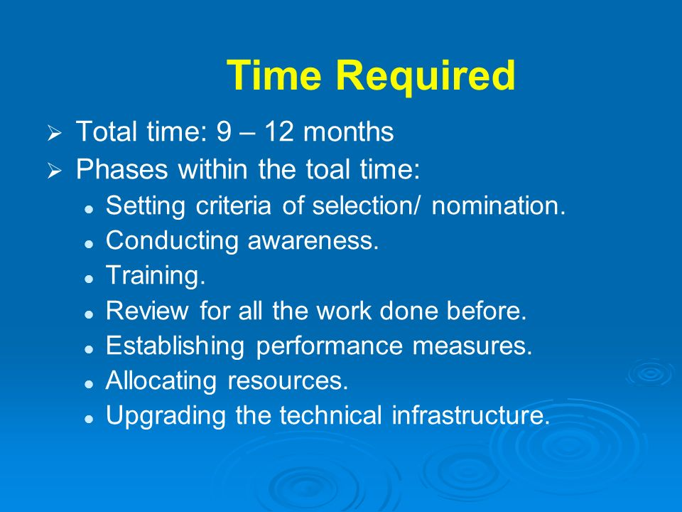 Time Required Total time: 9 – 12 months Phases within the toal time:
