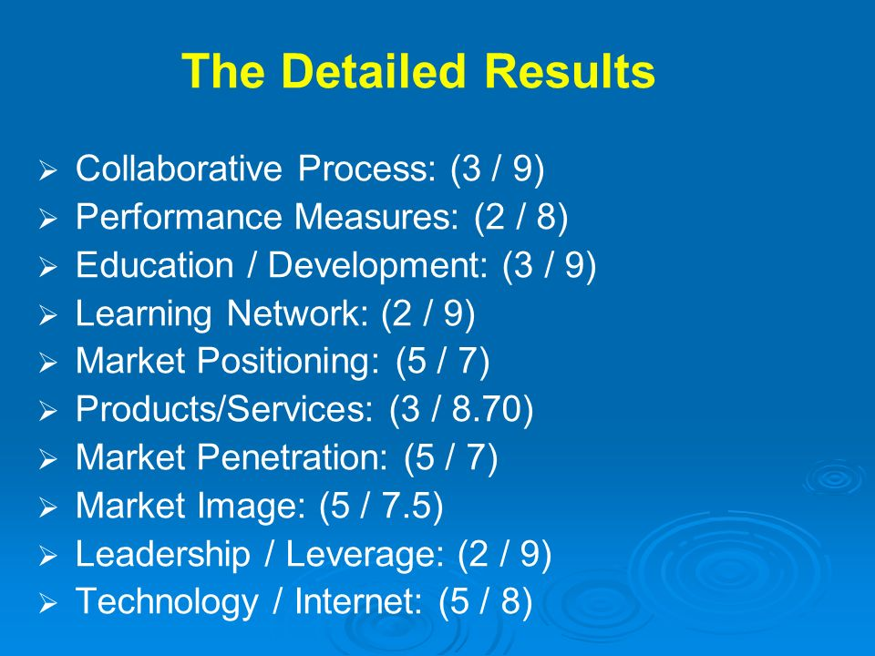 The Detailed Results Collaborative Process: (3 / 9)