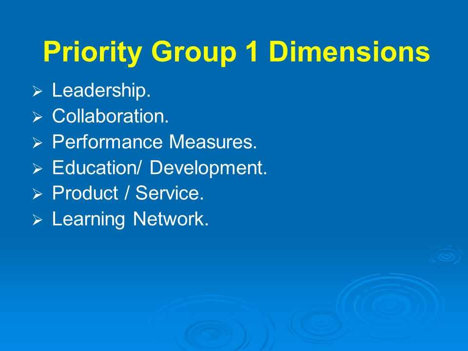 Priority Group 1 Dimensions
