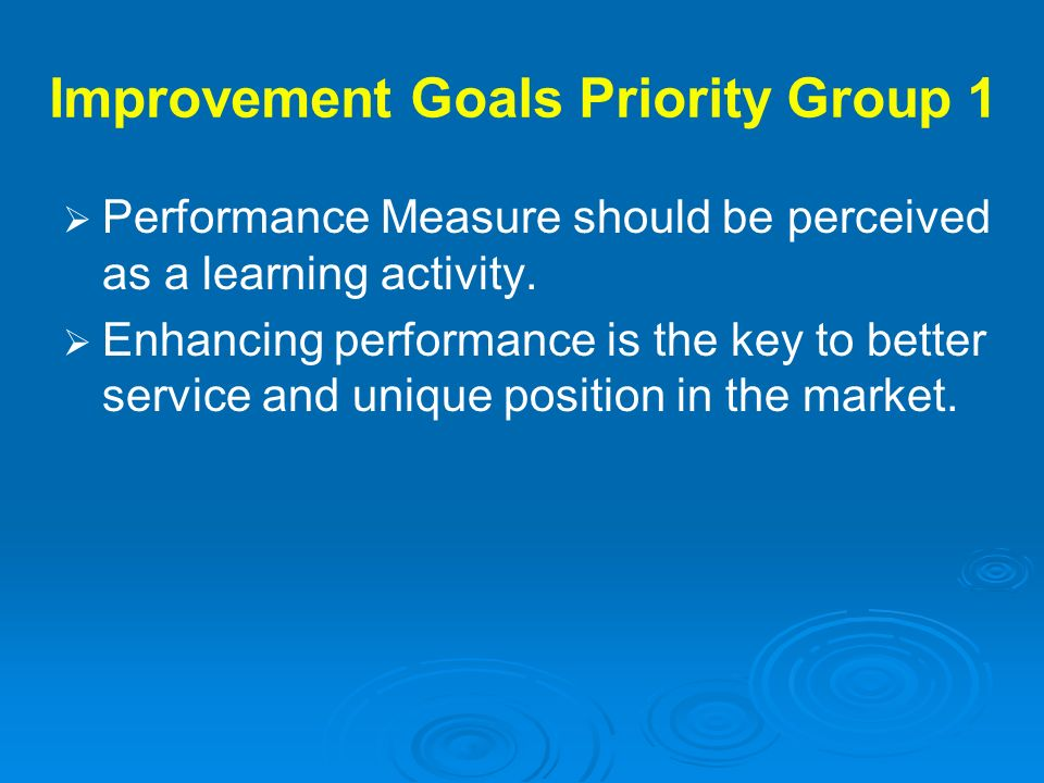Improvement Goals Priority Group 1