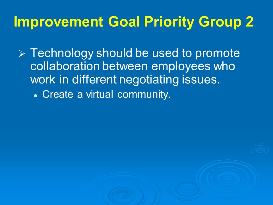 Improvement Goal Priority Group 2