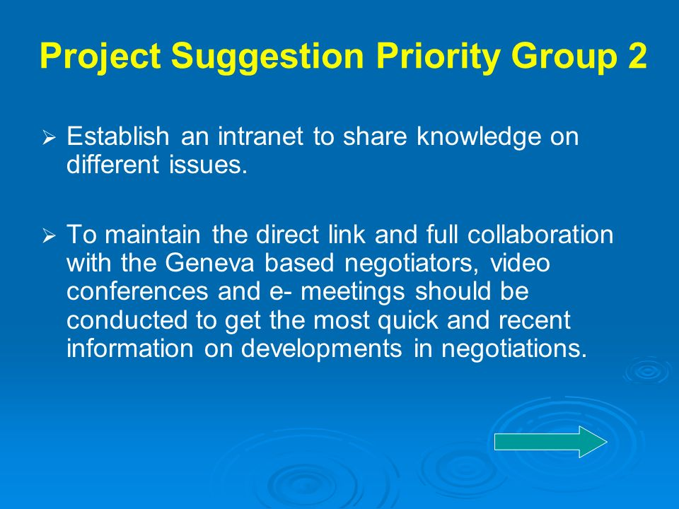 Project Suggestion Priority Group 2