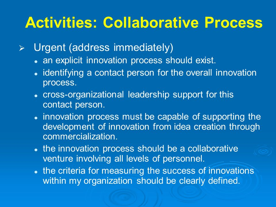 Activities: Collaborative Process