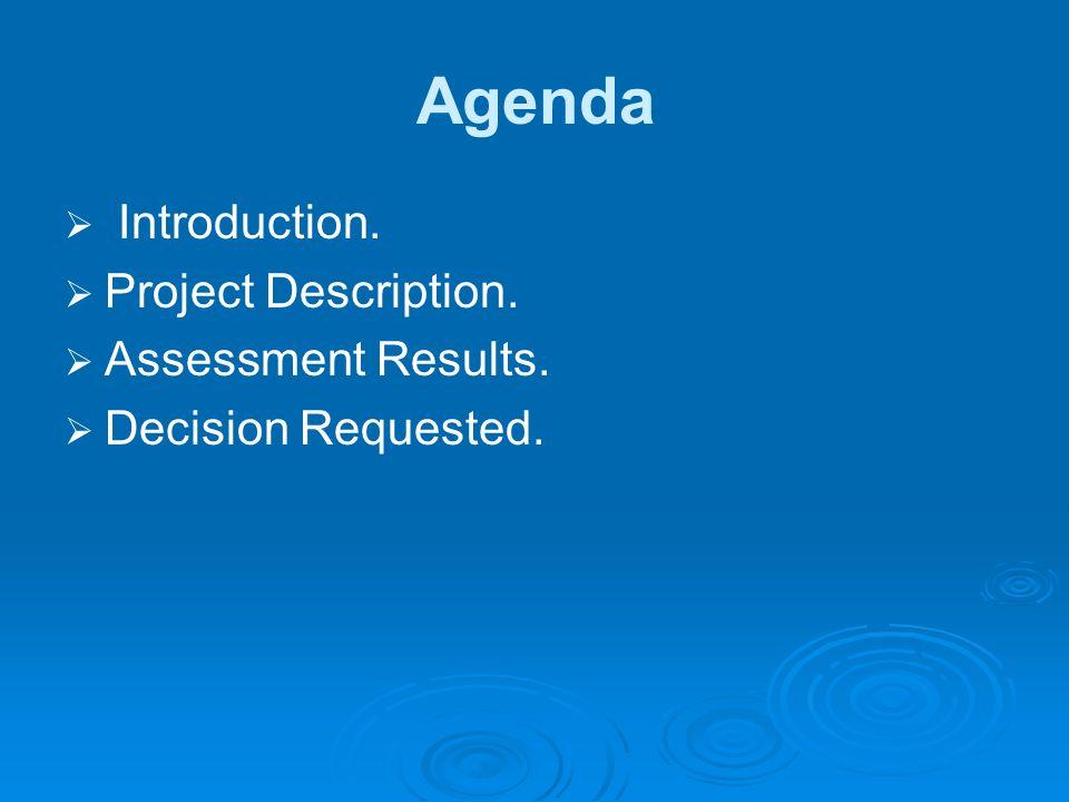 Agenda Introduction. Project Description. Assessment Results.