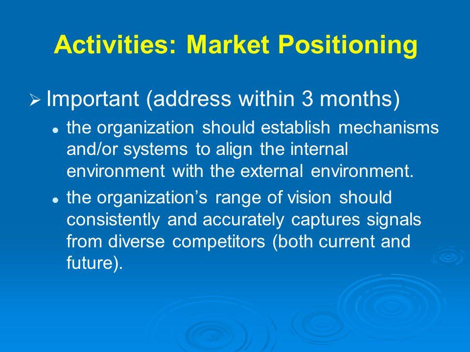 Activities: Market Positioning