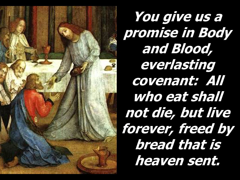 You give us a promise in Body and Blood, everlasting covenant: All who eat shall not die, but live forever, freed by bread that is heaven sent.