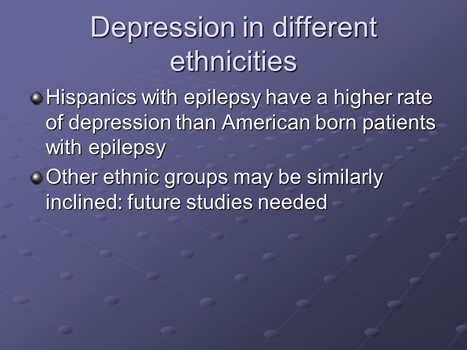 Depression in different ethnicities