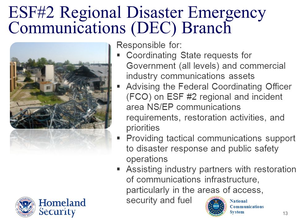 ESF#2 Regional Disaster Emergency Communications (DEC) Branch