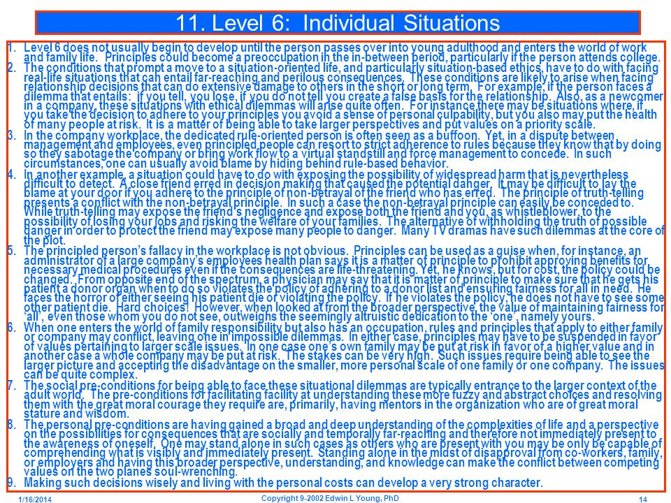 11. Level 6: Individual Situations