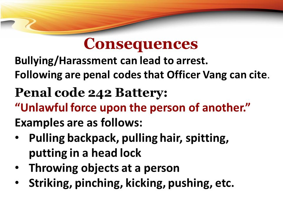 Consequences Penal code 242 Battery: