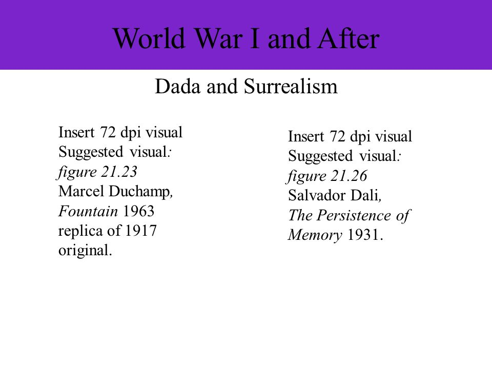 World War I and After Dada and Surrealism Insert 72 dpi visual