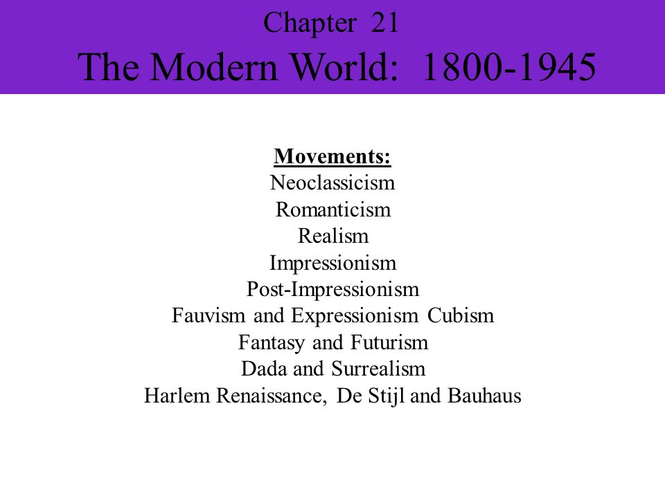 Chapter 21 The Modern World: 1800-1945