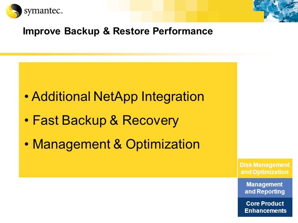 Improve Backup & Restore Performance