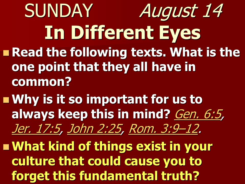 SUNDAY August 14 In Different Eyes