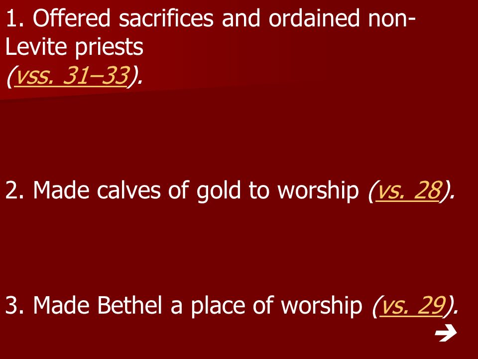 1. Offered sacrifices and ordained non-Levite priests