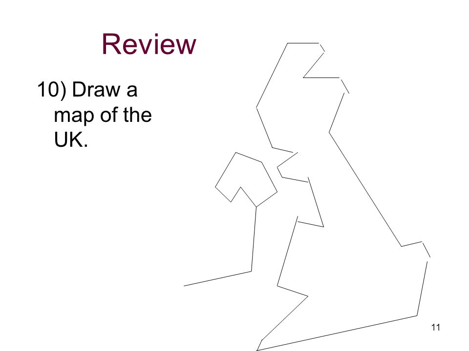 Review 10) Draw a map of the UK.