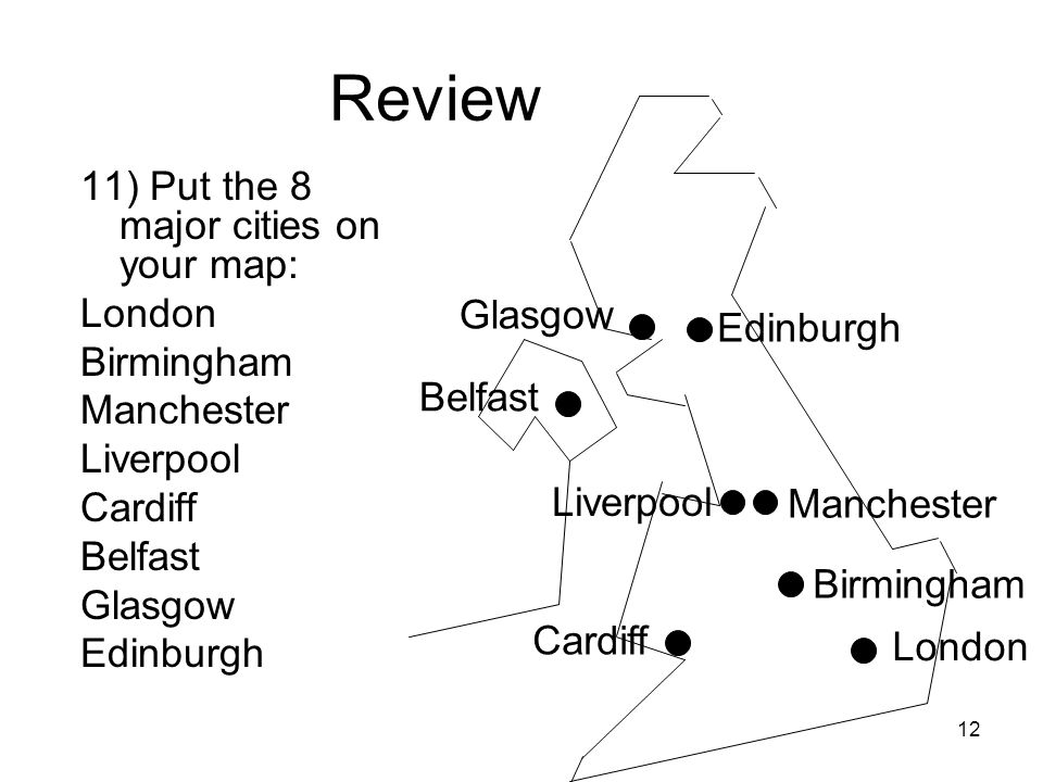 Review 11) Put the 8 major cities on your map: London Birmingham