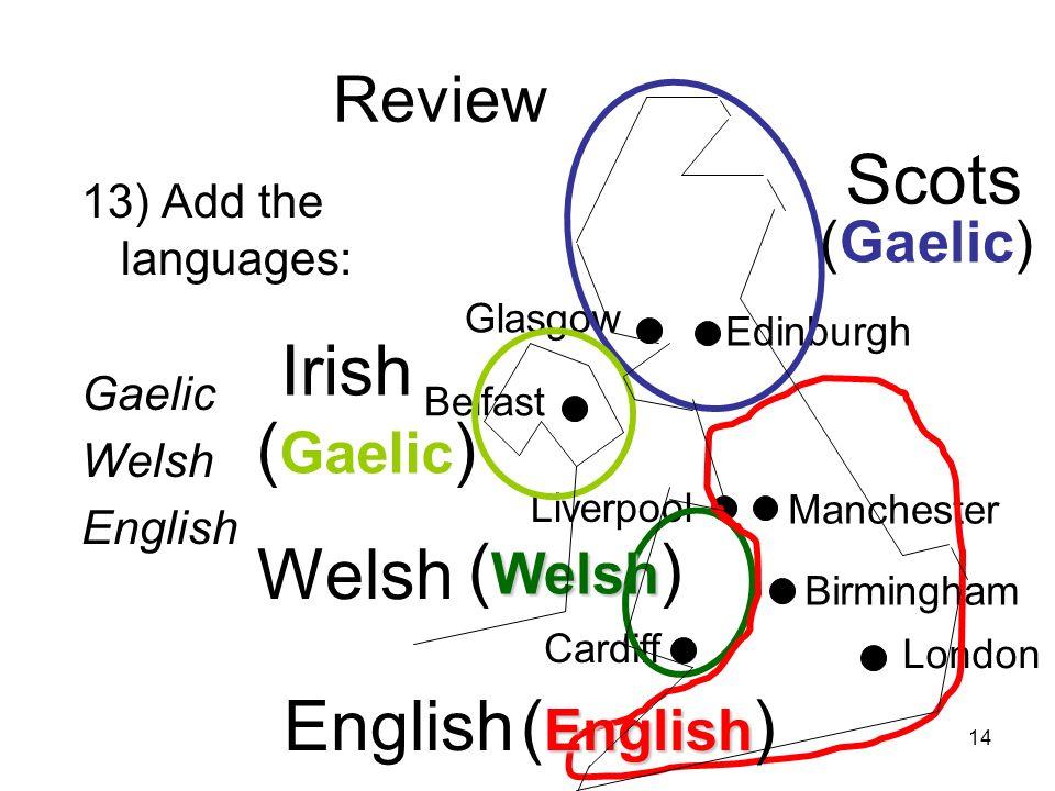 Scots Irish (Gaelic) Welsh (Welsh) English (English) Review (Gaelic)