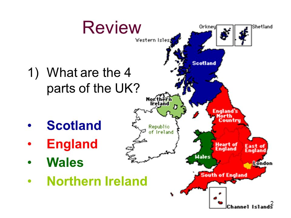 Review What are the 4 parts of the UK Scotland England Wales