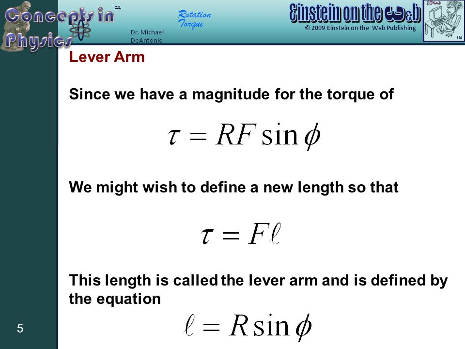 Lever Arm Since we have a magnitude for the torque of. We might wish to define a new length so that.