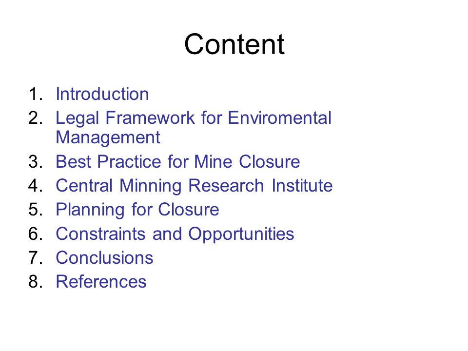 Content Introduction Legal Framework for Enviromental Management
