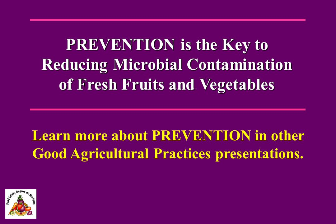 PREVENTION is the Key to Reducing Microbial Contamination of Fresh Fruits and Vegetables