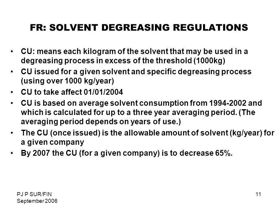 FR: SOLVENT DEGREASING REGULATIONS