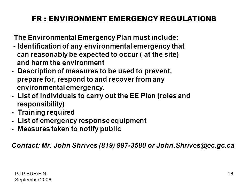 FR : ENVIRONMENT EMERGENCY REGULATIONS