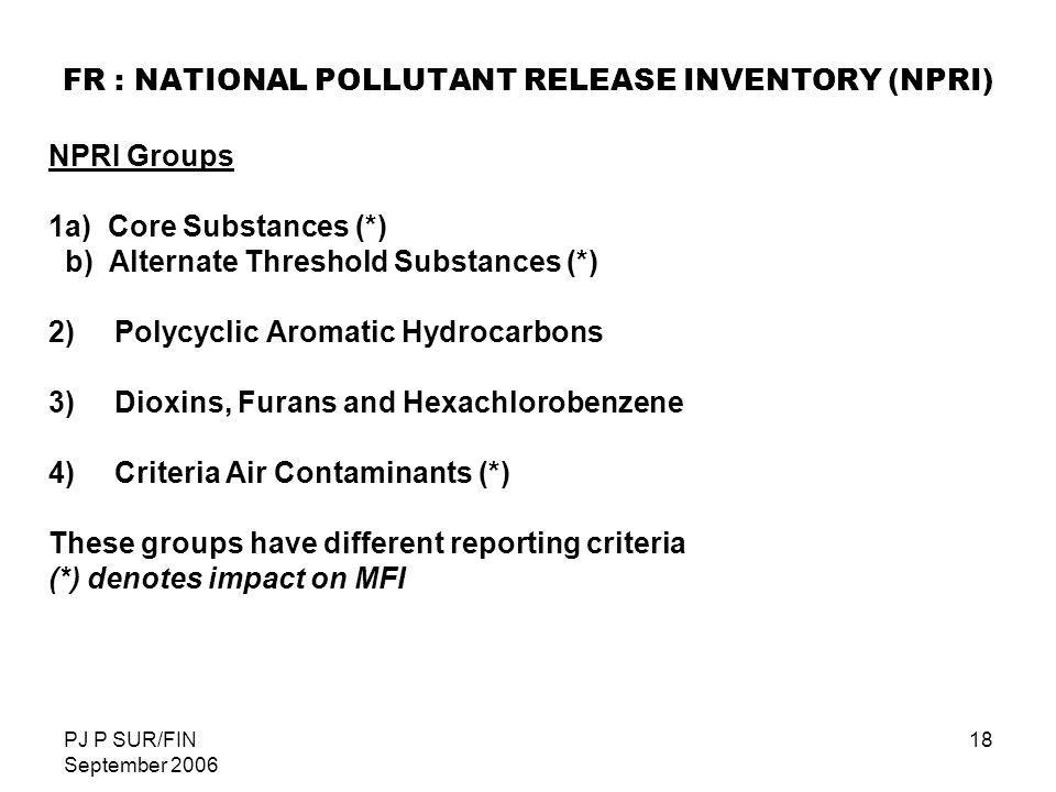 FR : NATIONAL POLLUTANT RELEASE INVENTORY (NPRI)