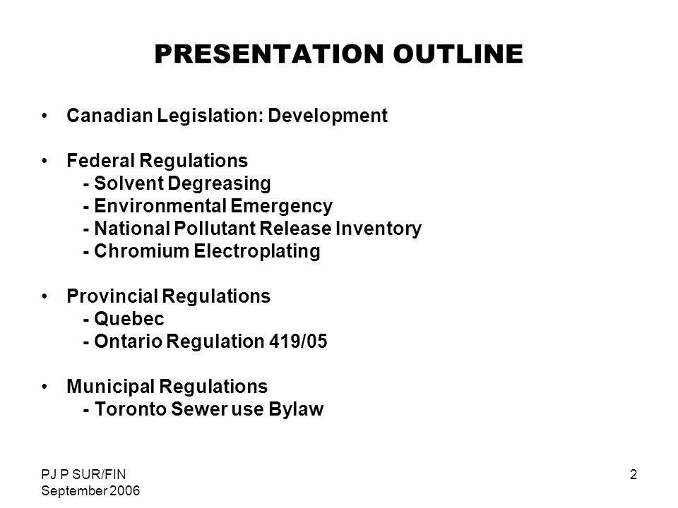PRESENTATION OUTLINE Canadian Legislation: Development