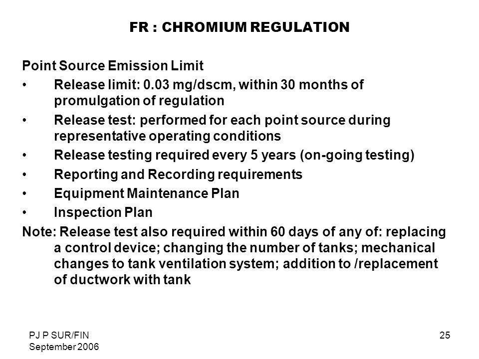 FR : CHROMIUM REGULATION